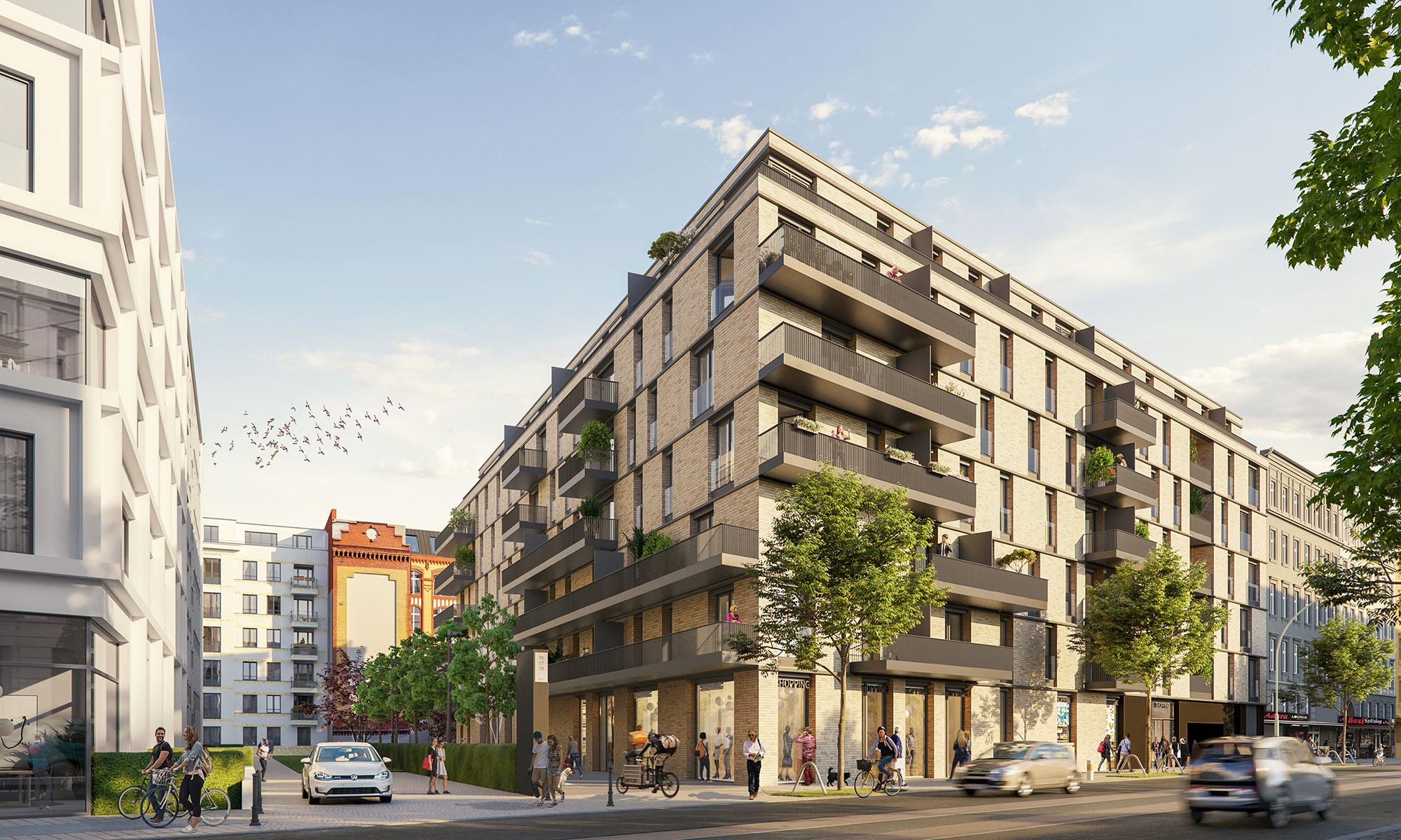 Visualisierung Neubauprojekt Schreibfederhöfe Richtung Boxhagener Straße